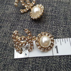 CHANEL Jewelry - CHANEL CC Pearl Drop Gold Crystals Earrings